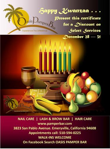 Kwanzaa Discount from Oasis Pamper Bar