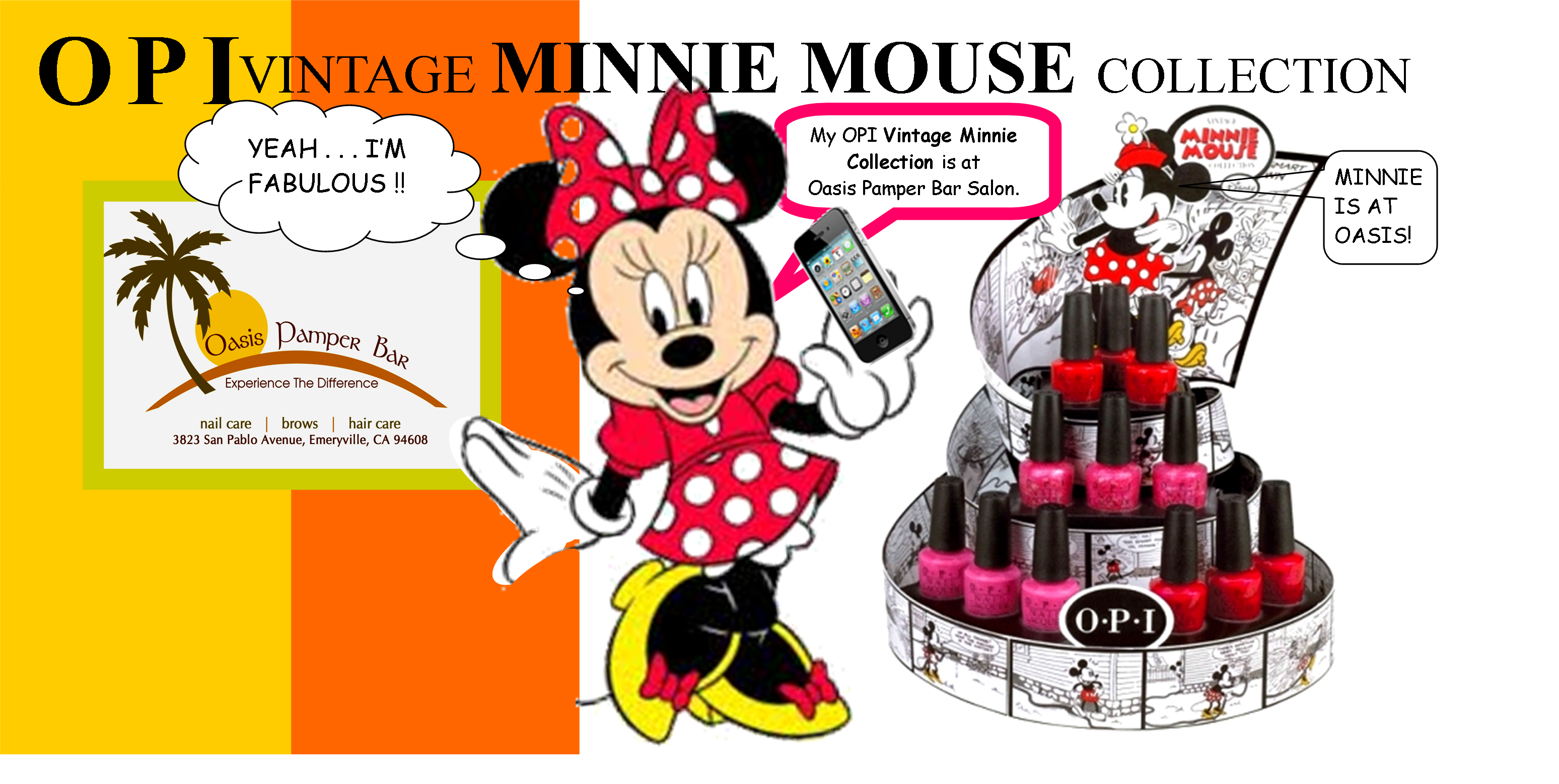 OPI's Vintage Minnie Mouse Polish Collection is now available at Oasis Pamper Bar Salon  from your nail professionals.