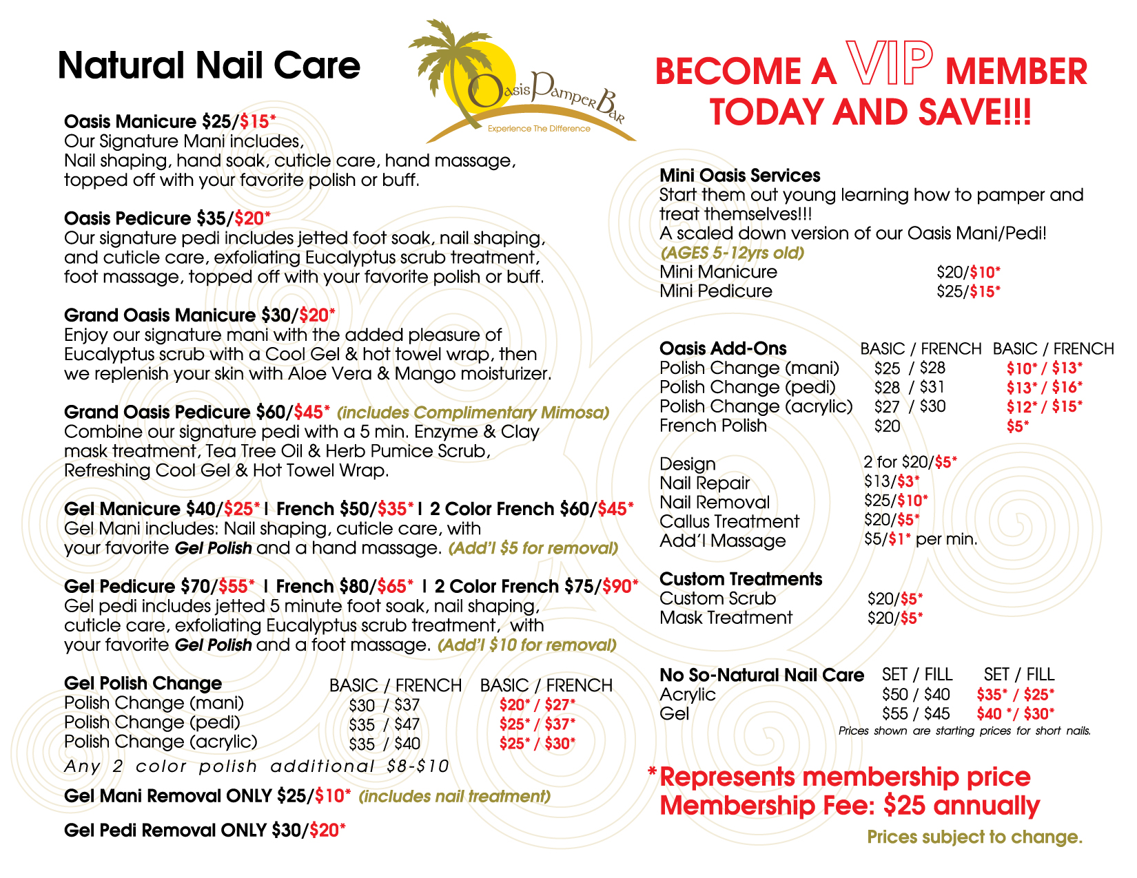 Oasis Pamper Bar Natural Nail Care Services Menu